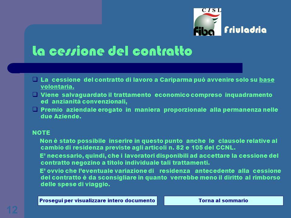 12 La cessione del contratto La cessione del contratto di lavoro a Cariparma può avvenire solo su base volontaria.