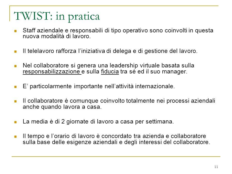 11 TWIST: in pratica Staff aziendale e responsabili di tipo operativo sono coinvolti in questa nuova modalità di lavoro. Il telelavoro rafforza linizi