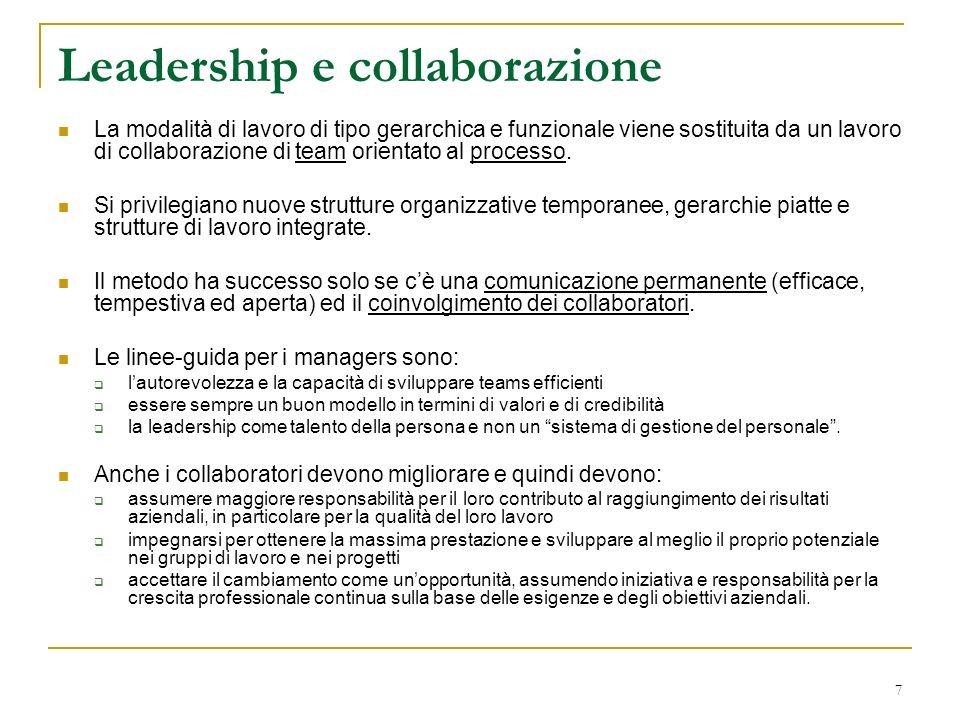 7 Leadership e collaborazione La modalità di lavoro di tipo gerarchica e funzionale viene sostituita da un lavoro di collaborazione di team orientato