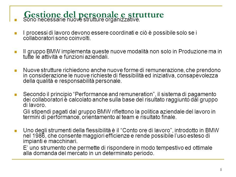 8 Gestione del personale e strutture Sono necessarie nuove strutture organizzative.