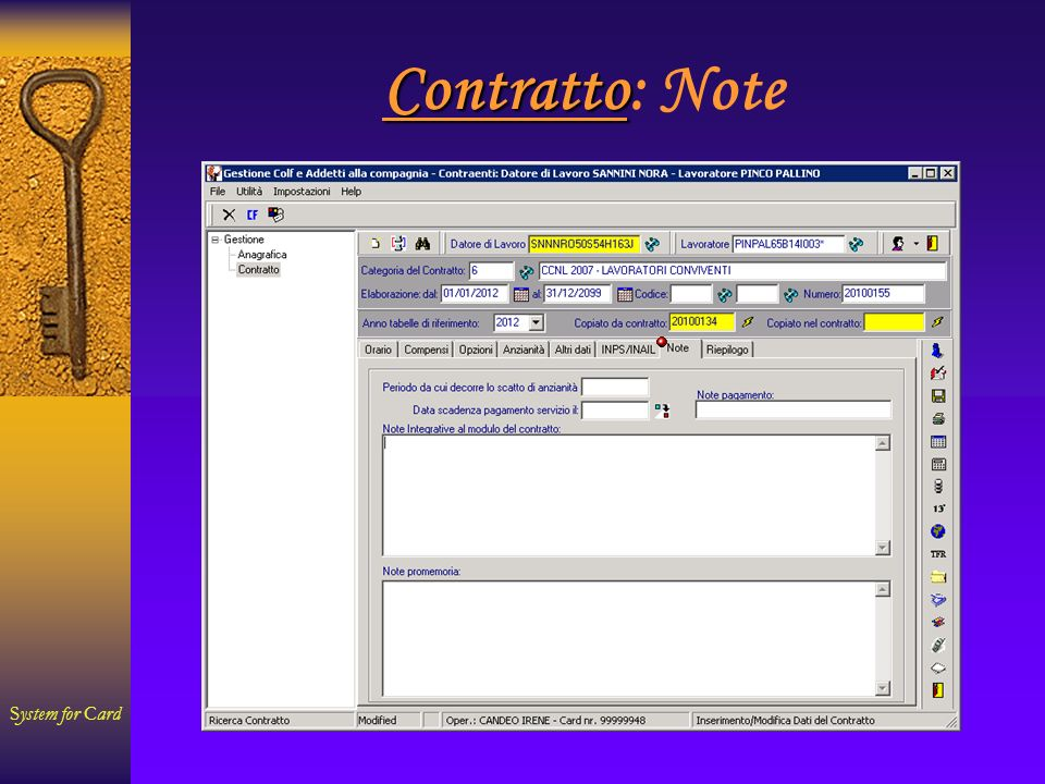 System for Card Contratto Contratto: Note
