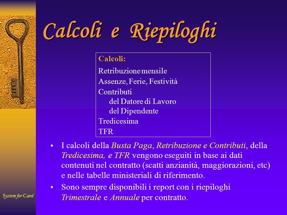System for Card Contratto Contratto: Busta Paga (Bottone: Riepilogo Contributi Mensili - fin.2 )