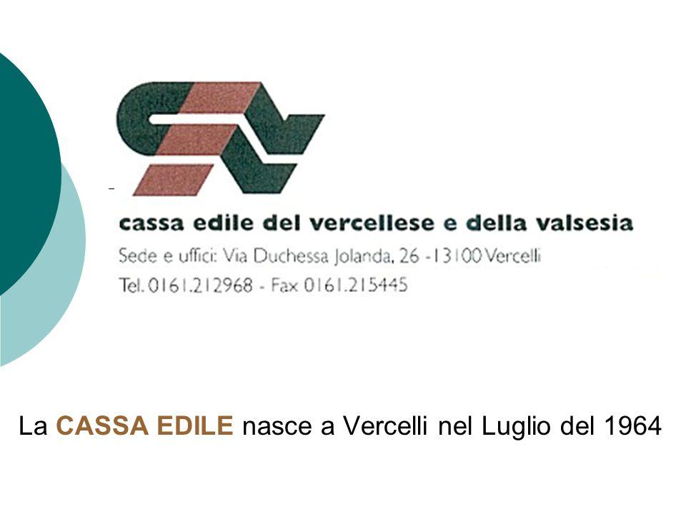 La CASSA EDILE nasce a Vercelli nel Luglio del 1964