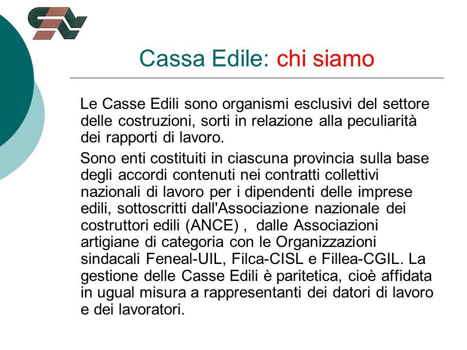 Cassa Edile: chi siamo Le Casse Edili sono organismi esclusivi del settore delle costruzioni, sorti in relazione alla peculiarità dei rapporti di lavoro.