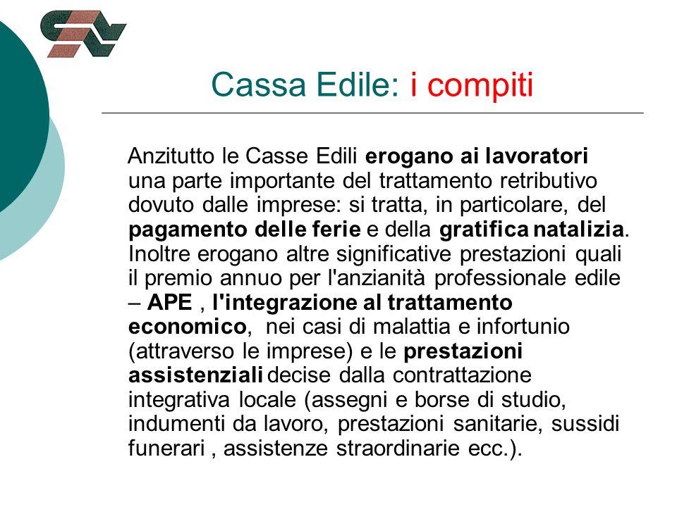 Cassa Edile: i compiti Anzitutto le Casse Edili erogano ai lavoratori una parte importante del trattamento retributivo dovuto dalle imprese: si tratta, in particolare, del pagamento delle ferie e della gratifica natalizia.