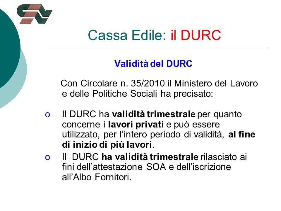 Validità del DURC Con Circolare n.