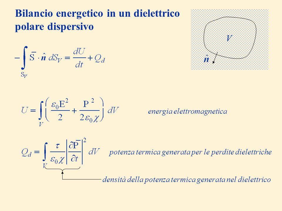 Bilancio energetico in un dielettrico polare dispersivo V energia elettromagnetica potenza termica generata per le perdite dielettriche densità della