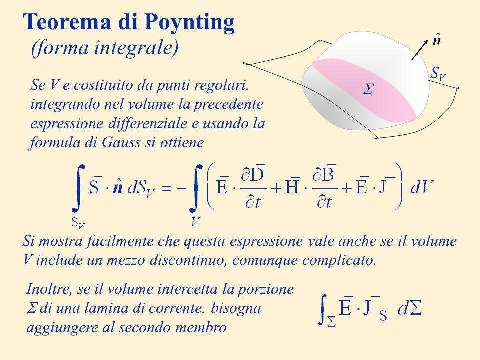 Teorema di Poynting (forma integrale) V SVSV Se V e costituito da punti regolari, integrando nel volume la precedente espressione differenziale e usan