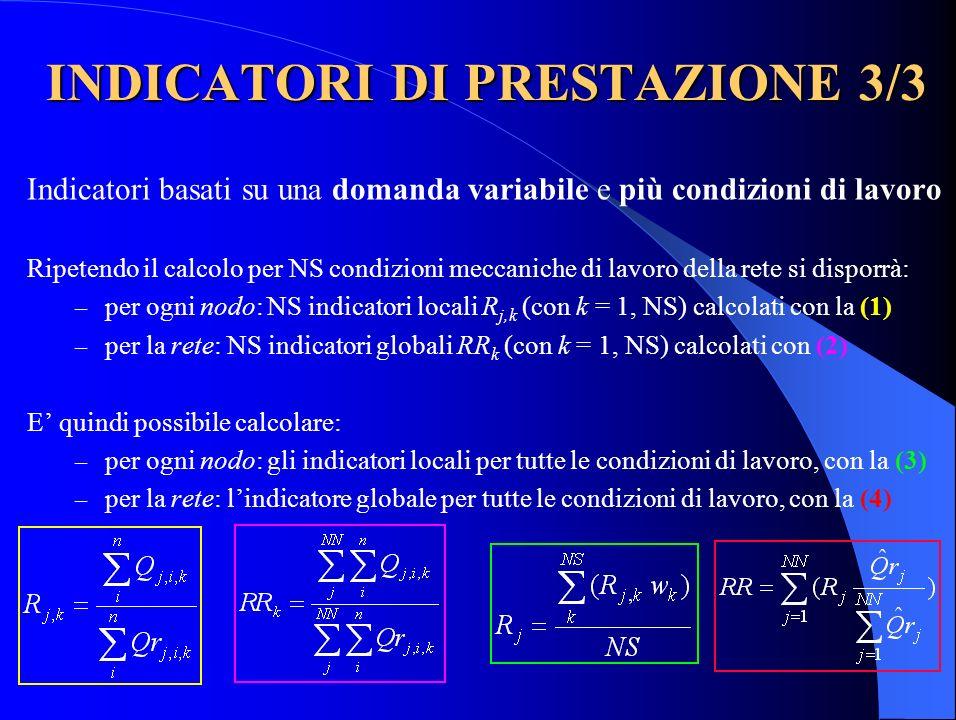 INDICATORI DI PRESTAZIONE 3/3 Indicatori basati su una domanda variabile e più condizioni di lavoro Ripetendo il calcolo per NS condizioni meccaniche di lavoro della rete si disporrà: – per ogni nodo: NS indicatori locali R j,k (con k = 1, NS) calcolati con la (1) – per la rete: NS indicatori globali RR k (con k = 1, NS) calcolati con (2) E quindi possibile calcolare: – per ogni nodo: gli indicatori locali per tutte le condizioni di lavoro, con la (3) – per la rete: lindicatore globale per tutte le condizioni di lavoro, con la (4)