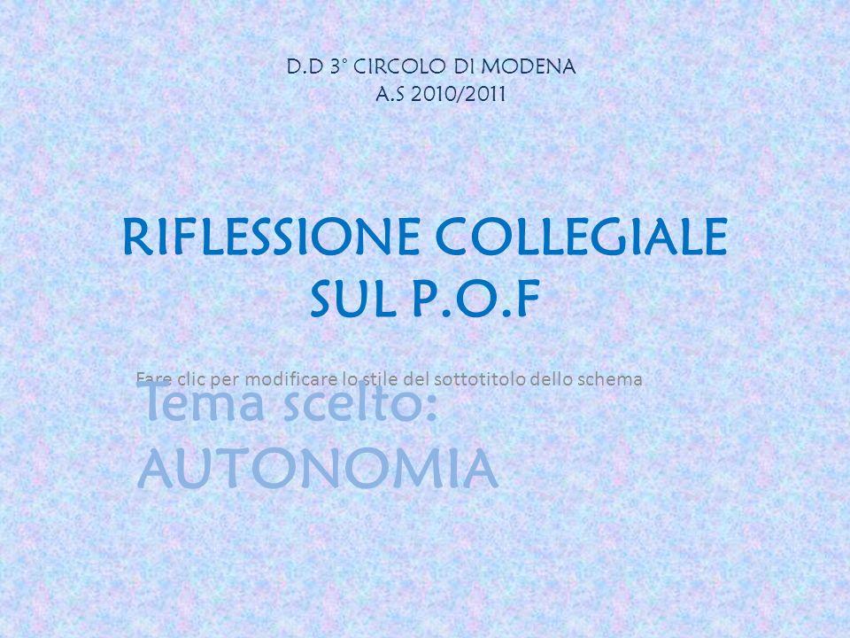 Fare clic per modificare lo stile del sottotitolo dello schema RIFLESSIONE COLLEGIALE SUL P.O.F Tema scelto: AUTONOMIA D.D 3° CIRCOLO DI MODENA A.S 20