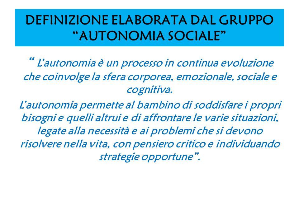 DEFINIZIONE ELABORATA DAL GRUPPO AUTONOMIA SOCIALE Lautonomia è un processo in continua evoluzione che coinvolge la sfera corporea, emozionale, social