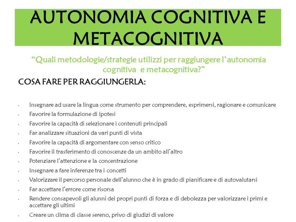 AUTONOMIA COGNITIVA E METACOGNITIVA Quali metodologie/strategie utilizzi per raggiungere lautonomia cognitiva e metacognitiva? COSA FARE PER RAGGIUNGE