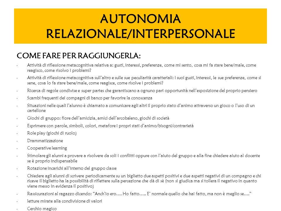 AUTONOMIA RELAZIONALE/INTERPERSONALE COME FARE PER RAGGIUNGERLA: Attività di riflessione metacognitiva relativa a: gusti, interessi, preferenze, come