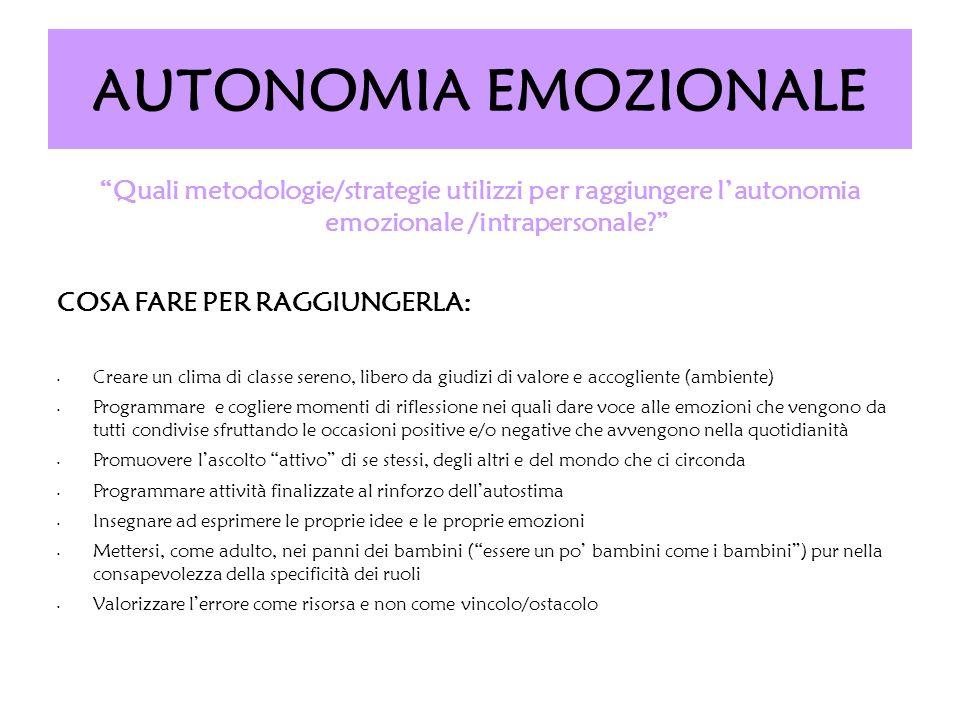 AUTONOMIA EMOZIONALE Quali metodologie/strategie utilizzi per raggiungere lautonomia emozionale /intrapersonale? COSA FARE PER RAGGIUNGERLA: Creare un