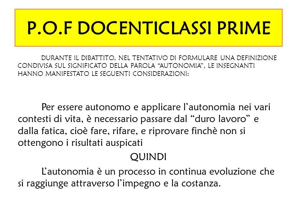 P.O.F DOCENTICLASSI PRIME DURANTE IL DIBATTITO, NEL TENTATIVO DI FORMULARE UNA DEFINIZIONE CONDIVISA SUL SIGNIFICATO DELLA PAROLA AUTONOMIA, LE INSEGN