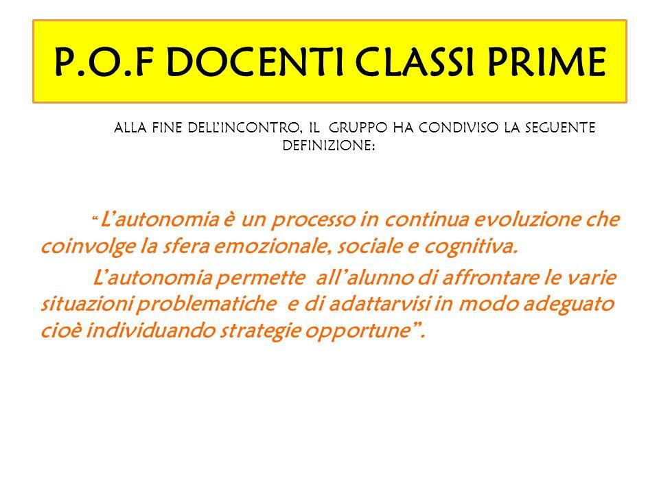 P.O.F DOCENTI CLASSI SECONDE TAPPE DEL PROCESSO: 1.