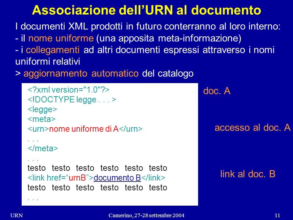 URNCamerino, 27-28 settembre 200411 Associazione dellURN al documento I documenti XML prodotti in futuro conterranno al loro interno: - il nome uniforme (una apposita meta-informazione) - i collegamenti ad altri documenti espressi attraverso i nomi uniformi relativi > aggiornamento automatico del catalogo nome uniforme di A......