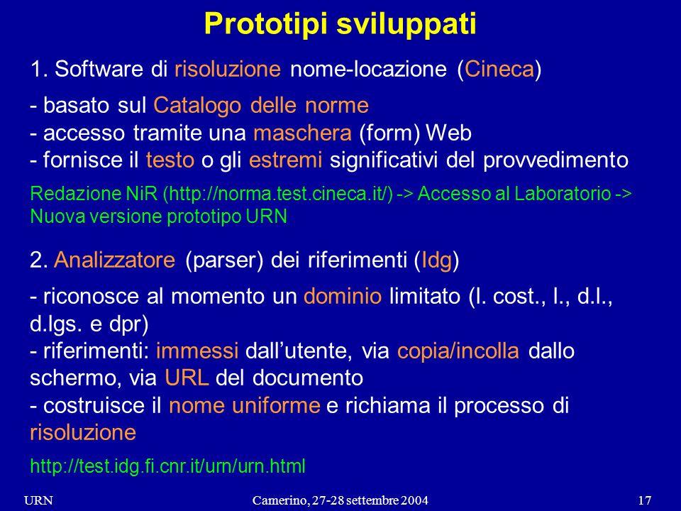 URNCamerino, 27-28 settembre 200417 Prototipi sviluppati 1.