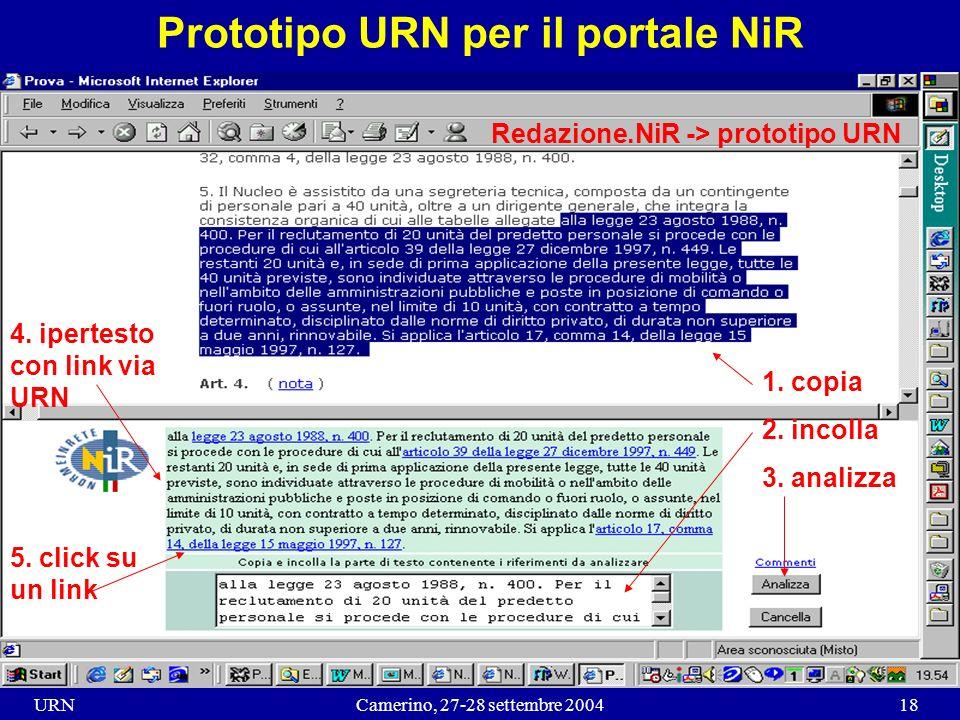 URNCamerino, 27-28 settembre 200418 Prototipo URN per il portale NiR 4.