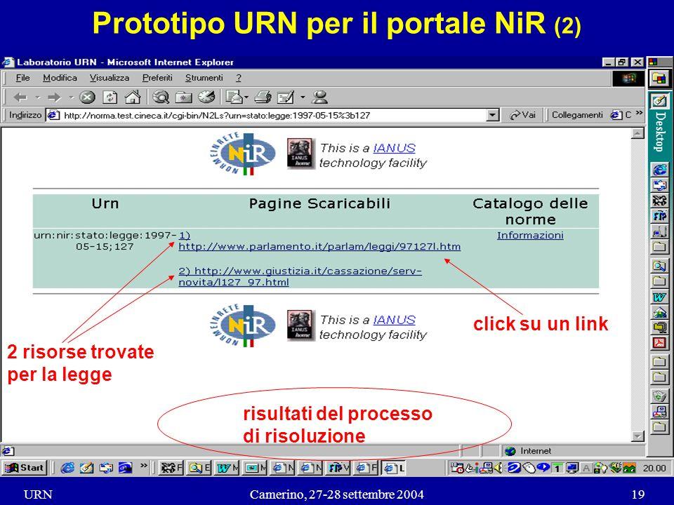 URNCamerino, 27-28 settembre 200419 Prototipo URN per il portale NiR (2) risultati del processo di risoluzione 2 risorse trovate per la legge click su un link