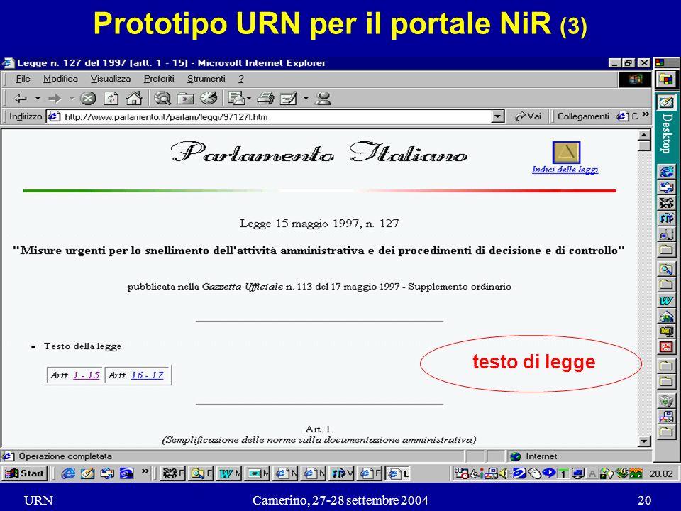 URNCamerino, 27-28 settembre 200420 Prototipo URN per il portale NiR (3) testo di legge