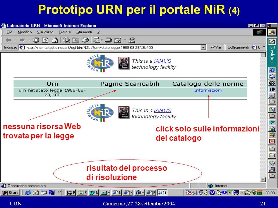URNCamerino, 27-28 settembre 200421 Prototipo URN per il portale NiR (4) click solo sulle informazioni del catalogo risultato del processo di risoluzione nessuna risorsa Web trovata per la legge