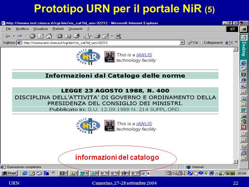 URNCamerino, 27-28 settembre 200422 Prototipo URN per il portale NiR (5) informazioni del catalogo