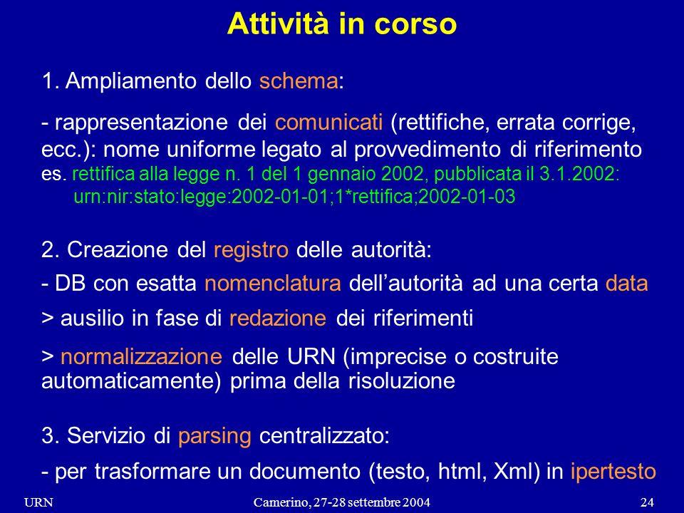URNCamerino, 27-28 settembre 200424 Attività in corso 1.