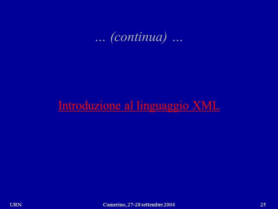 URNCamerino, 27-28 settembre 200425 … (continua) … Introduzione al linguaggio XML