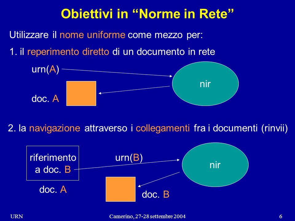 URNCamerino, 27-28 settembre 20046 Obiettivi in Norme in Rete Utilizzare il nome uniforme come mezzo per: 1.