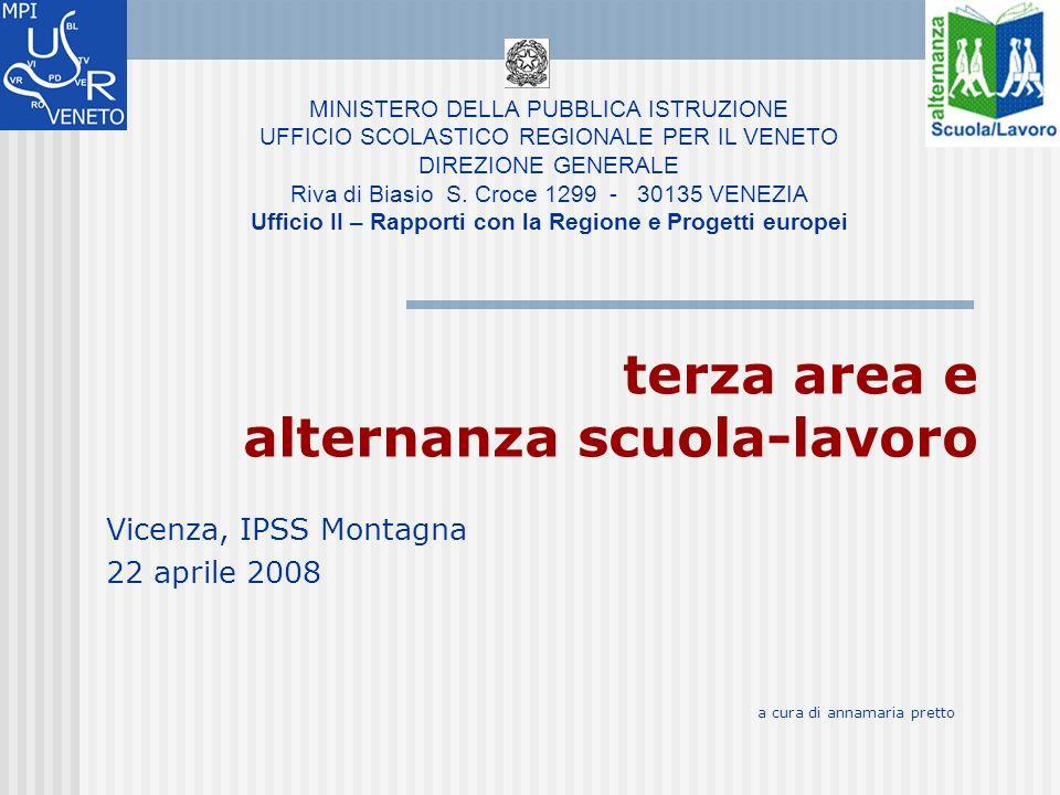 terza area e alternanza scuola-lavoro Vicenza, IPSS Montagna 22 aprile 2008 MINISTERO DELLA PUBBLICA ISTRUZIONE UFFICIO SCOLASTICO REGIONALE PER IL VENETO DIREZIONE GENERALE Riva di Biasio S.