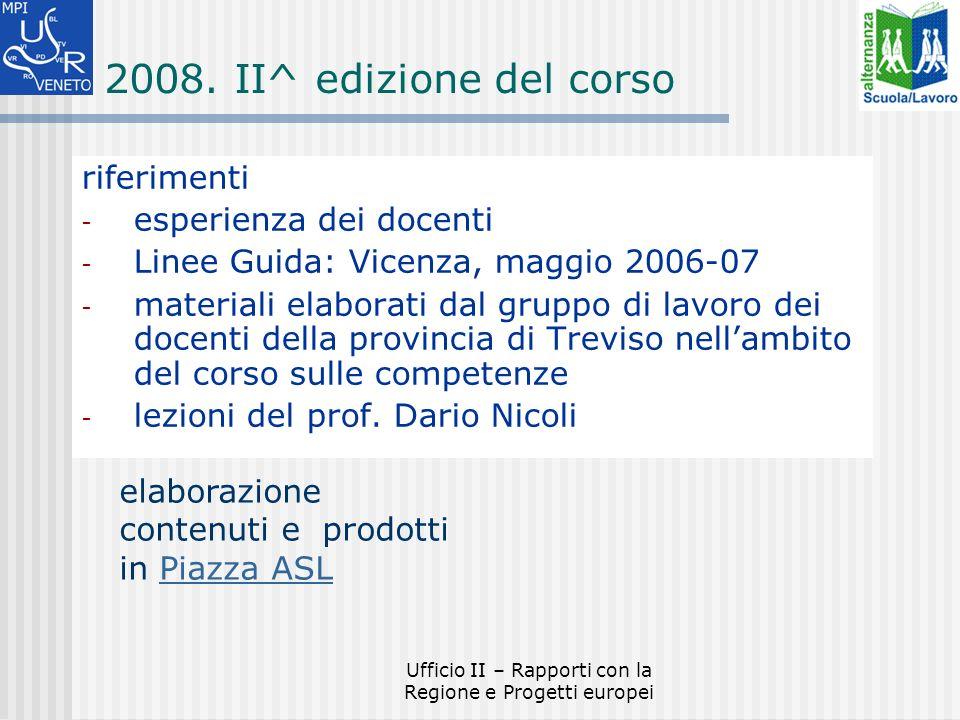 Ufficio II – Rapporti con la Regione e Progetti europei 2008.