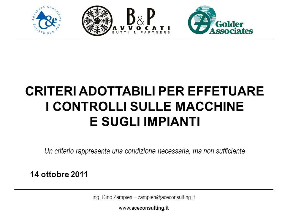 ing. Gino Zampieri – zampieri@aceconsulting.it www.aceconsulting.it CRITERI ADOTTABILI PER EFFETUARE I CONTROLLI SULLE MACCHINE E SUGLI IMPIANTI Un cr