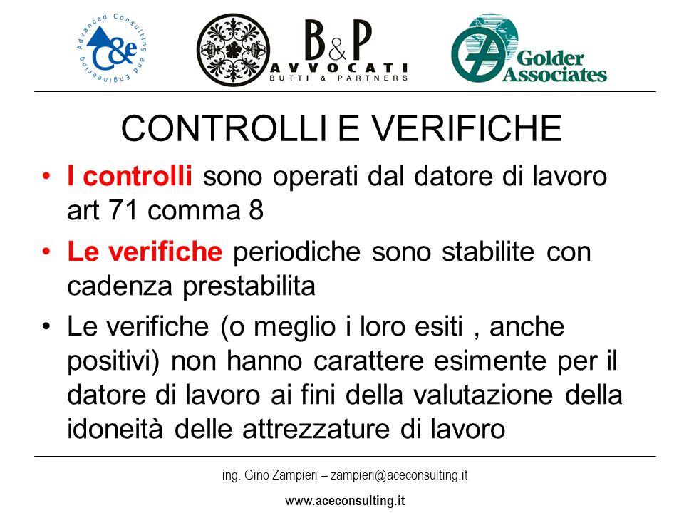 ing. Gino Zampieri – zampieri@aceconsulting.it www.aceconsulting.it CONTROLLI E VERIFICHE I controlli sono operati dal datore di lavoro art 71 comma 8