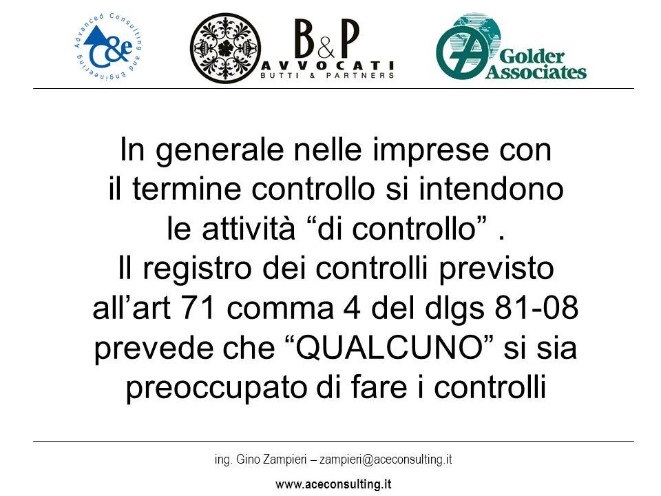 ing. Gino Zampieri – zampieri@aceconsulting.it www.aceconsulting.it In generale nelle imprese con il termine controllo si intendono le attività di con