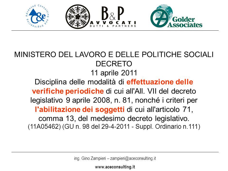 ing. Gino Zampieri – zampieri@aceconsulting.it www.aceconsulting.it MINISTERO DEL LAVORO E DELLE POLITICHE SOCIALI DECRETO 11 aprile 2011 Disciplina d