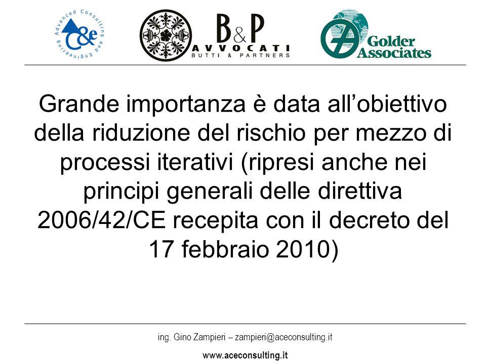 ing. Gino Zampieri – zampieri@aceconsulting.it www.aceconsulting.it Grande importanza è data allobiettivo della riduzione del rischio per mezzo di pro