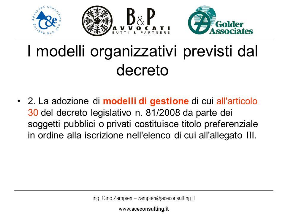 ing. Gino Zampieri – zampieri@aceconsulting.it www.aceconsulting.it I modelli organizzativi previsti dal decreto 2. La adozione di modelli di gestione