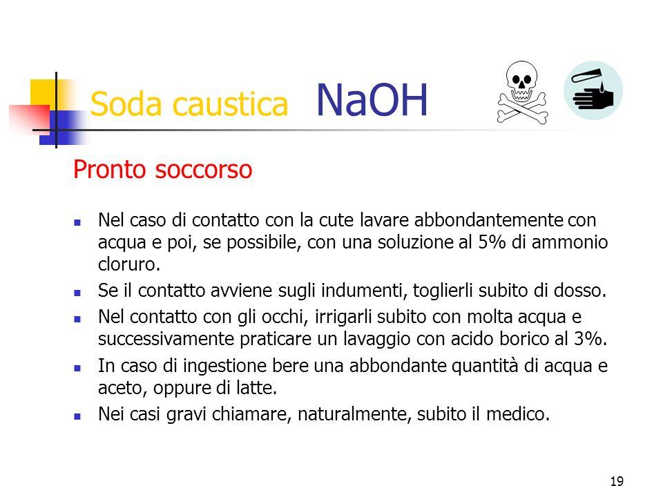 19 Soda caustica NaOH Nel caso di contatto con la cute lavare abbondantemente con acqua e poi, se possibile, con una soluzione al 5% di ammonio cloruro.