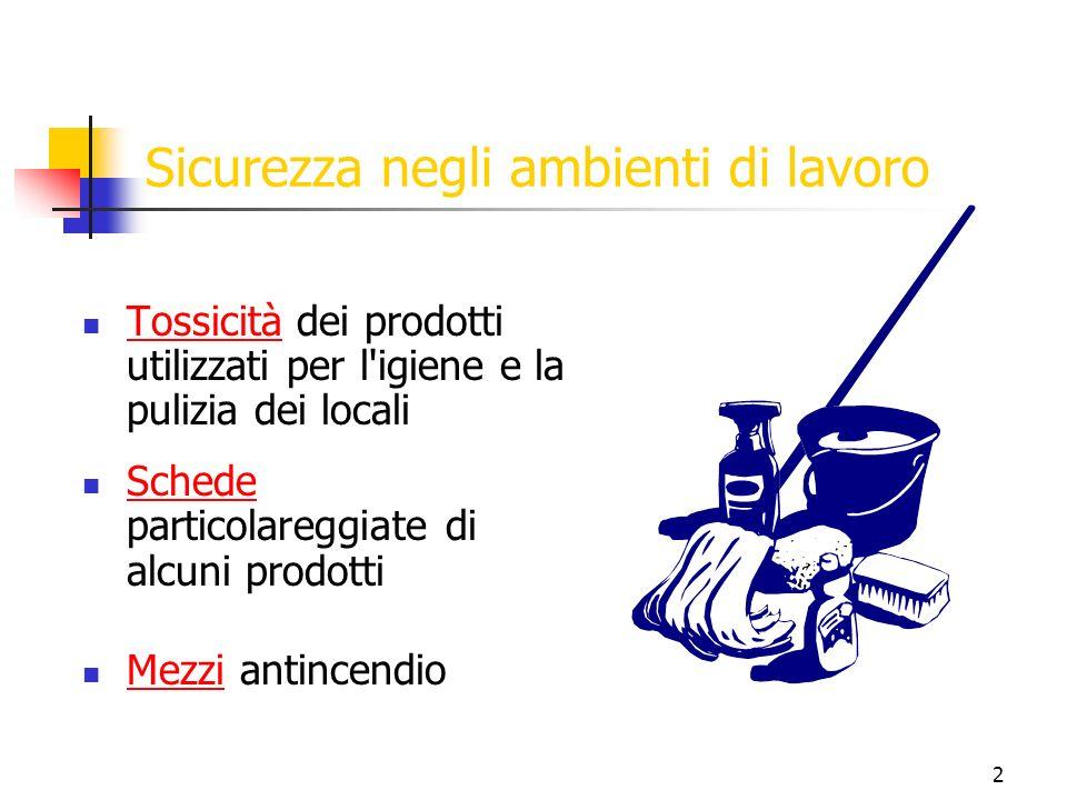 2 Sicurezza negli ambienti di lavoro Tossicità dei prodotti utilizzati per l igiene e la pulizia dei locali Tossicità Schede particolareggiate di alcuni prodotti Schede Mezzi antincendio Mezzi