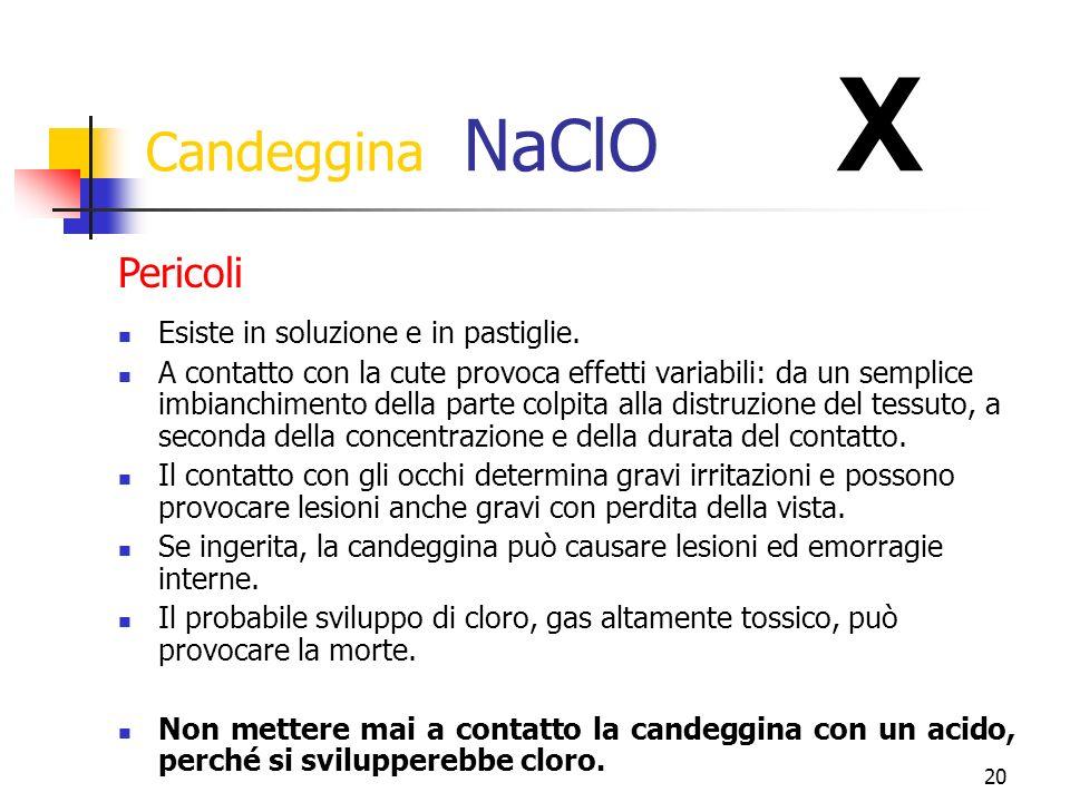 20 Candeggina NaClO X Esiste in soluzione e in pastiglie.