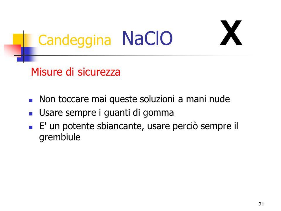 21 Candeggina NaClO X Non toccare mai queste soluzioni a mani nude Usare sempre i guanti di gomma E un potente sbiancante, usare perciò sempre il grembiule Misure di sicurezza