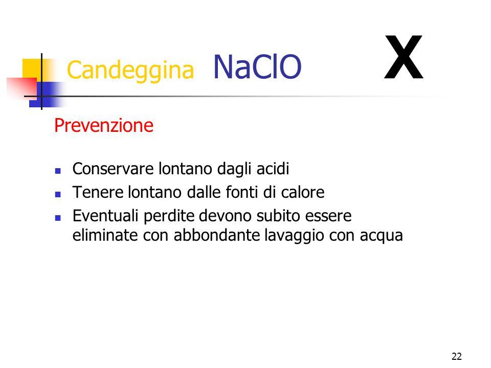 22 Candeggina NaClO X Conservare lontano dagli acidi Tenere lontano dalle fonti di calore Eventuali perdite devono subito essere eliminate con abbondante lavaggio con acqua Prevenzione