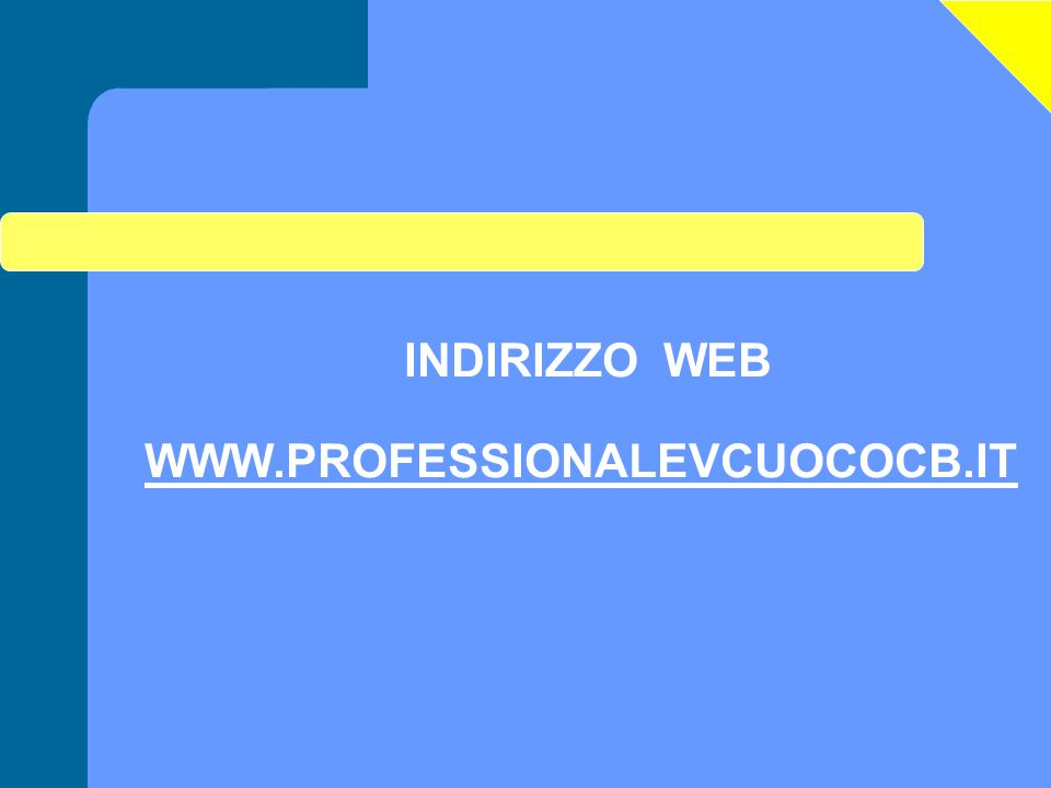 INDIRIZZO WEB WWW.PROFESSIONALEVCUOCOCB.IT