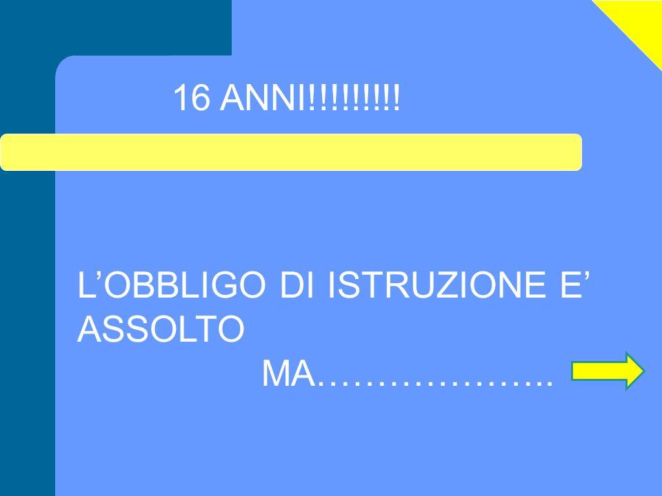 LOBBLIGO DI ISTRUZIONE E ASSOLTO MA……………….. 16 ANNI!!!!!!!!!