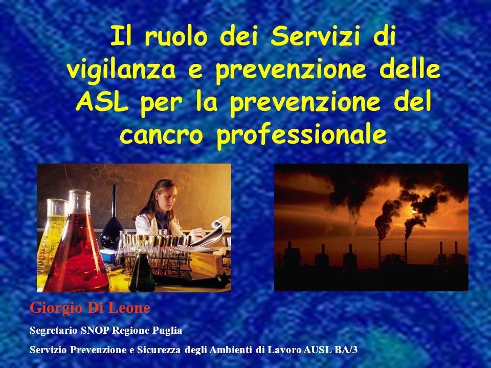 Il ruolo dei Servizi di vigilanza e prevenzione delle ASL per la prevenzione del cancro professionale Giorgio Di Leone Segretario SNOP Regione Puglia Servizio Prevenzione e Sicurezza degli Ambienti di Lavoro AUSL BA/3
