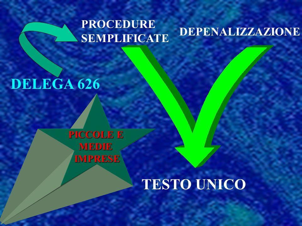 PICCOLE E MEDIEIMPRESE PROCEDURE SEMPLIFICATE DEPENALIZZAZIONE TESTO UNICO DELEGA 626