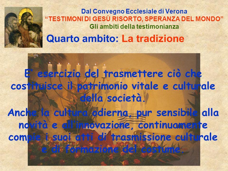 Dal Convegno Ecclesiale di Verona TESTIMONI DI GESÙ RISORTO, SPERANZA DEL MONDO Gli ambiti della testimonianza Quarto ambito: La tradizione E esercizio del trasmettere ciò che costituisce il patrimonio vitale e culturale della società.
