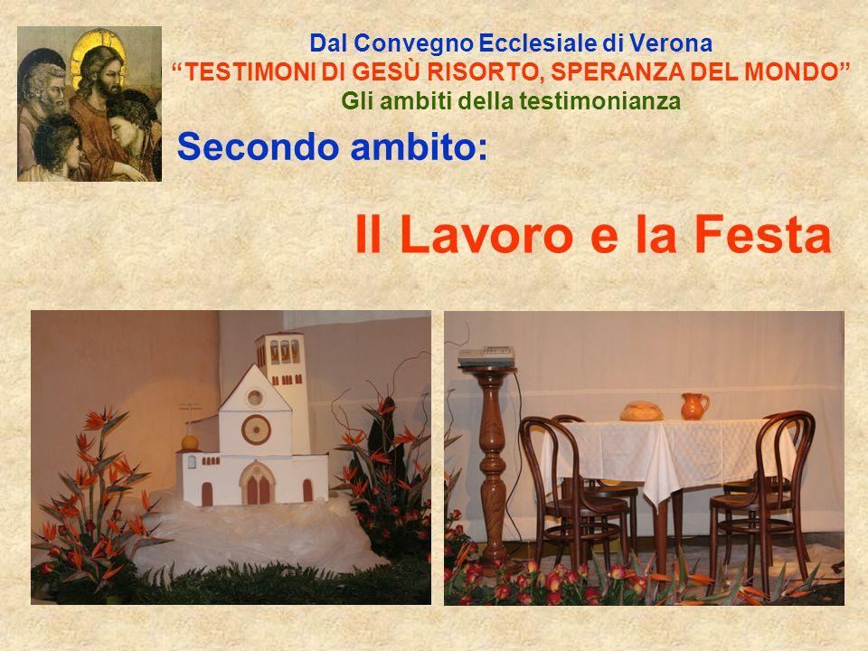 Secondo ambito: Dal Convegno Ecclesiale di Verona TESTIMONI DI GESÙ RISORTO, SPERANZA DEL MONDO Gli ambiti della testimonianza Il Lavoro e la Festa