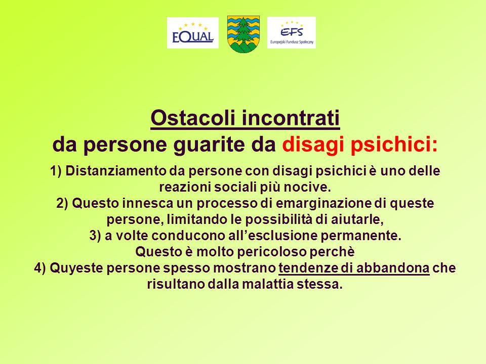 Ostacoli incontrati da persone guarite da disagi psichici: 1) Distanziamento da persone con disagi psichici è uno delle reazioni sociali più nocive.